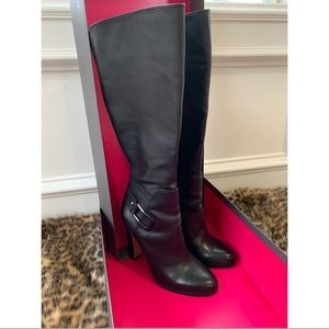 Vince Camuto Knee-High Black Leather Boots